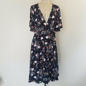 Torrid Floral Print Faux Wrap Midi Dress 10958917